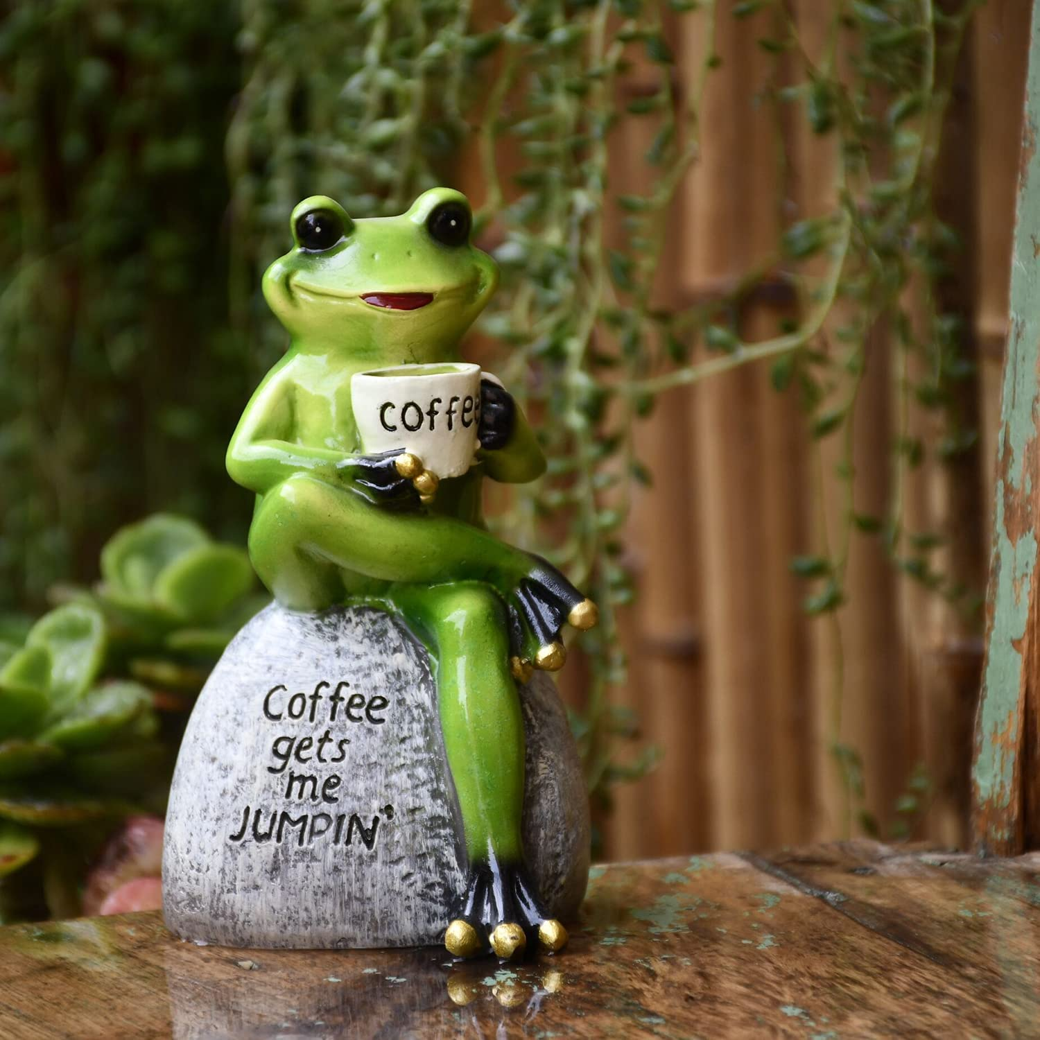 OwMell Green Frog Statue Sitting on Stone Drinking Coffee Pose Figurine Garden Patio Indoor Outdoor Decoration Model Sculpture Small Size 4 Inch