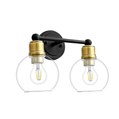 Buy 2 Light Bathroom Vanity Light Fixtures Over Mirror Wall Sconce Guarantled Black Light Fixture With Oil Rubbered Bronze Light Head For Vintage Farmhouse Lighting Clear Glass Shade Bulbs Not Included Online In