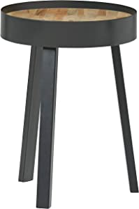 "Amazon Brand – Rivet Jaxon Rustic Side Table, 22""H, Natural and Black"