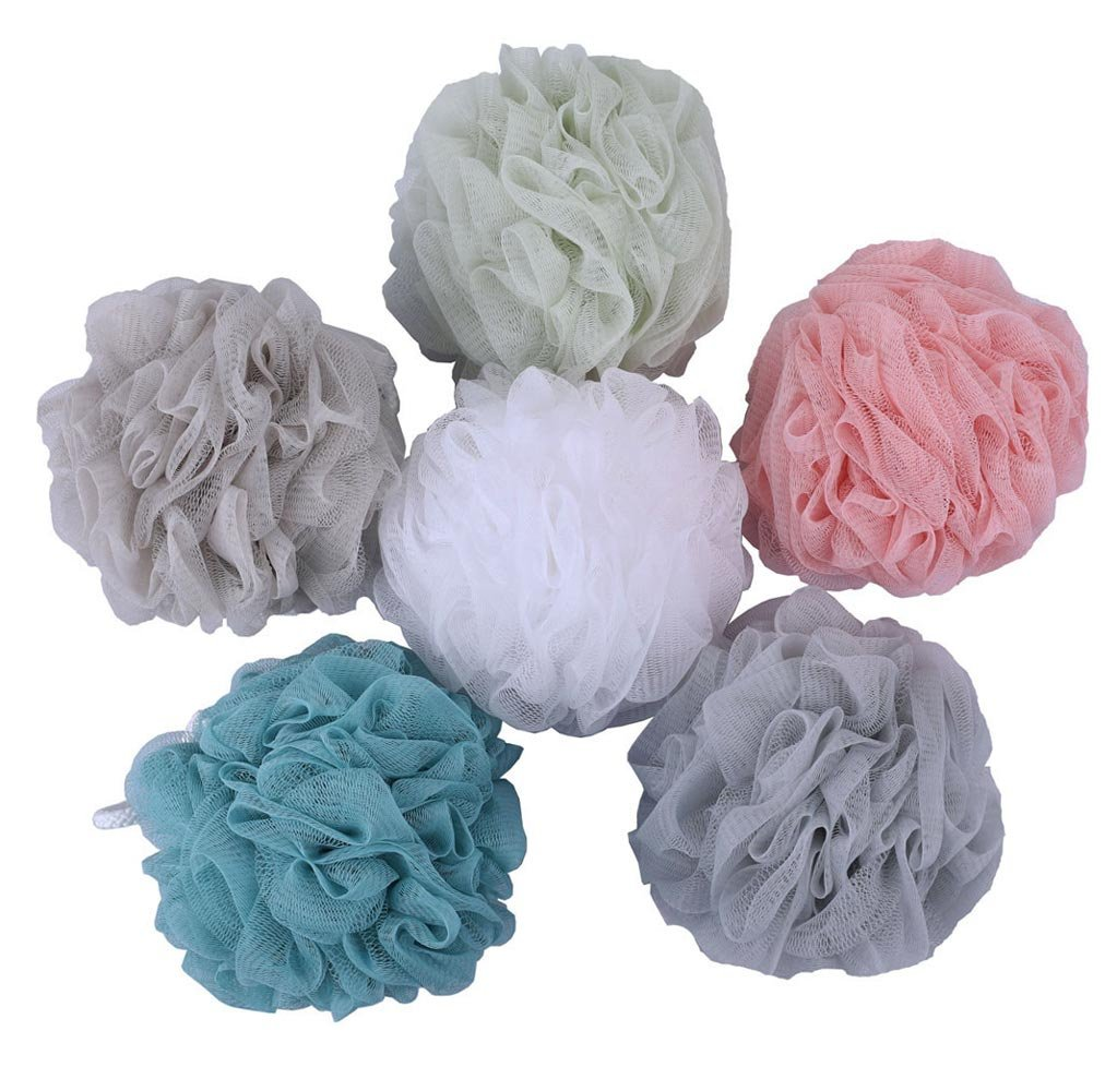 Premium Mesh Poufs (65g/pcs) Bath Sponges Shower Loofahs Exfoliating Mesh Puff - Great for Body Wash Pack of 4