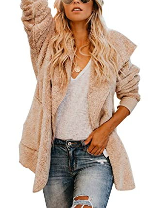 Womens Thick Warm Furry Hooded Cardigan Plush Jacket Coat Outwear with  Pocket Apricot S ecb5a66d7