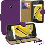 Case Collection® Premium Quality Leather Book Style Wallet Flip Case Cover With Credit Card & Money Slots For Motorola Moto E 2nd gen