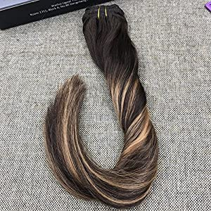 Ugeat 16 inch Balayage Remy Clip in Hair Extensions Multi-colored Brown #2 Ombre Color Blonde 27 and Brown Color #2 Clip in Extensions Human Hair 120 Gram 7 Pieces