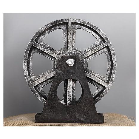 Decoración de rueda de madera industrial retro, para cafetería bar, arte de pasillo