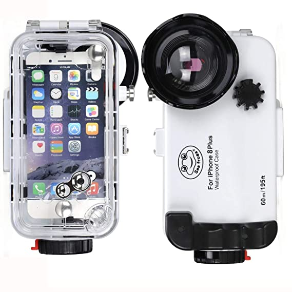 best sneakers 8c83b f8667 BECROWMUS Compatible iPhone 8 Plus Underwater Housing Professional  [60m/195ft] Diving Case Wide Angle for Diving Surfing Swimming Snorkeling  Photo ...