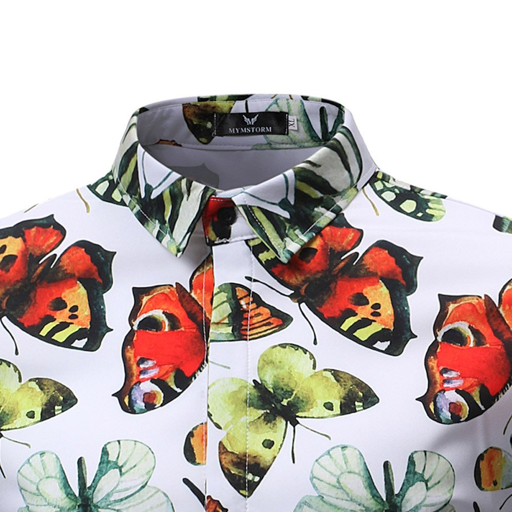 Vickyleb Button Down Shirt Men Short Sleeve T-Shirts Butterfly Printed Blouse Summer Casual Tops Slim Fit Shirt