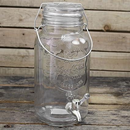 3 litros Kilner estilo de cristal transparente de bebida fría del grifo dispensador de bebidas tarro