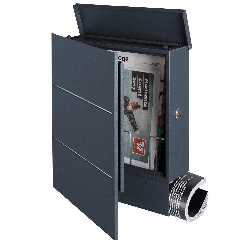mit Edelstahl-Design ral 7016 /Öffnung links MOCAVI Box 141R Briefkasten mit Zeitungsfach anthrazit Wand-Postkasten