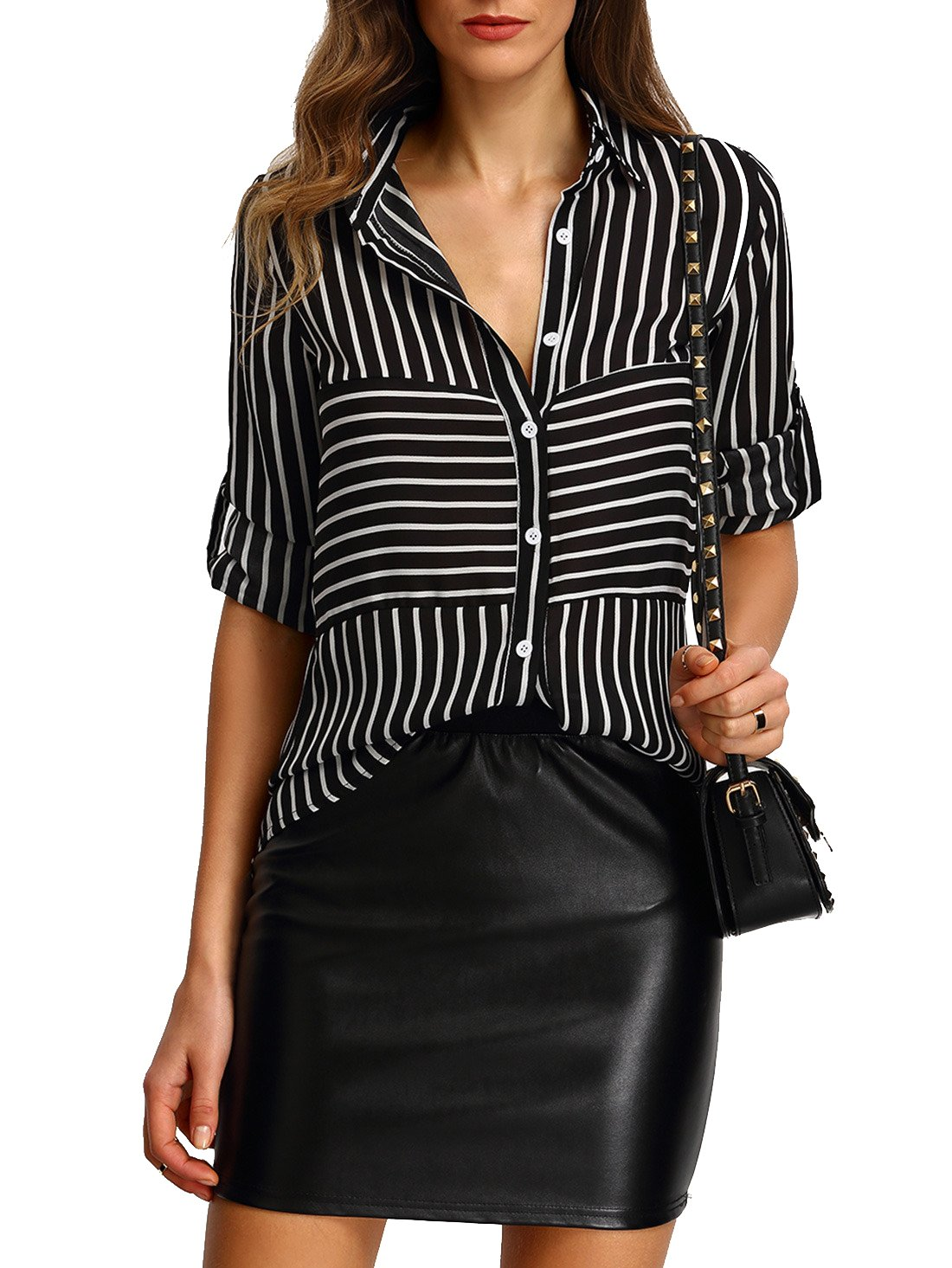 SheIn Women's Casual Chiffon Long Sleeve Striped Buttons Blouse Tops Small Black