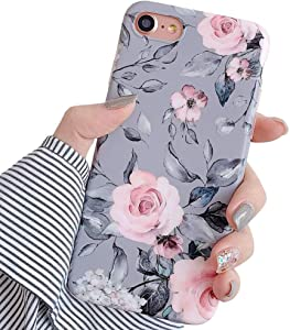 YeLoveHaw iPhone SE 2020 Case, iPhone 8 Case, iPhone 7 Case for Girls, Flexible Soft Slim Fit, Floral and Purple & Gray Leaves Pattern Cute Phone Case for iPhone8 / iPhone7 / iPhoneSE (Pink Flowers)