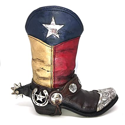 b4e8688c5df Texas Lone Star Cowboy Boot with Spur Small Vase Planter for Western Decor
