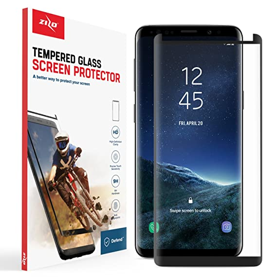 new concept 85f99 601c2 Zizo Full Glass Compatible with Samsung Galaxy S9 Full Edge to Edge  Tempered Glass Screen Protector Anti Scratch 9H Hardness Black