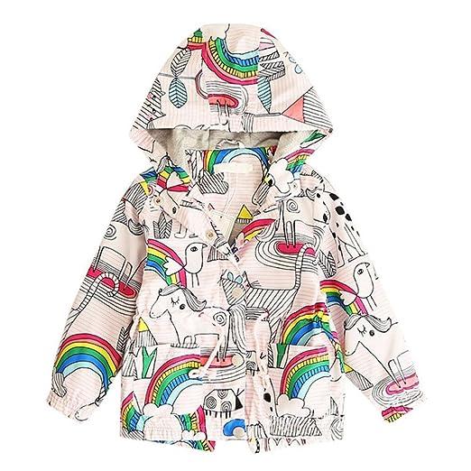 44d6ffec7 Amazon.com  KONFA Girls Cute Rainbow Animals Print Windbreakers Coat ...