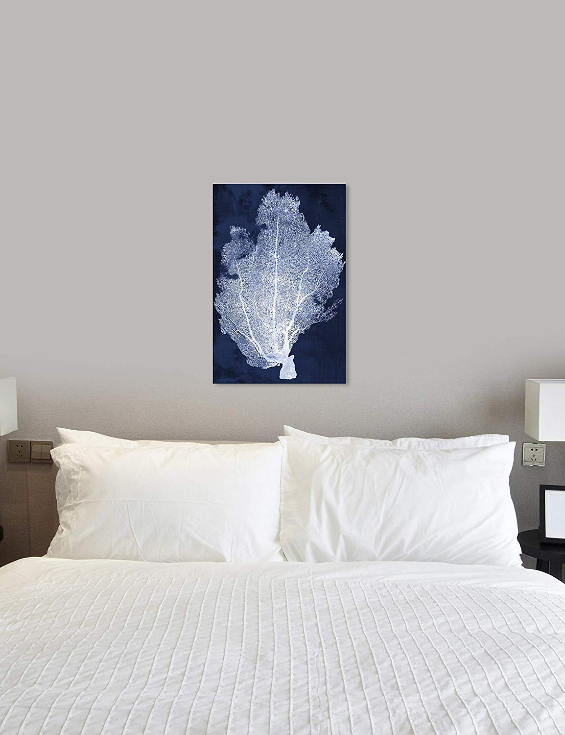 13285/_24x36/_CANV/_XHD Oliver Gal Coral Fan Cyanotype 2 The Nautical Wall Art Decor Collection Contemporary Premium Canvas Art Print The Oliver Gal Artist Co