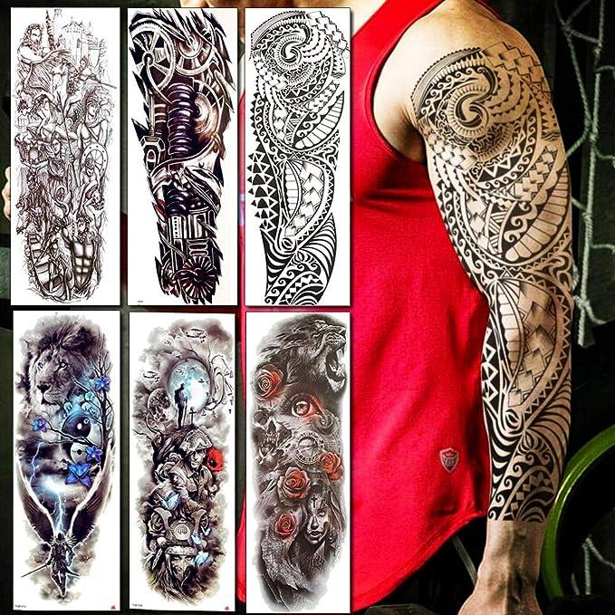 Tatuajes Temporales Adultos Brazo Brazo Completo Hombres Mujeres ...