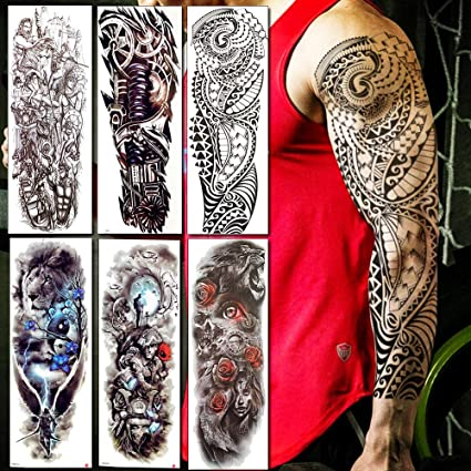 KAMRL Tatuaje Falso Tatuaje Brazo Completo Hombres Mujeres ...
