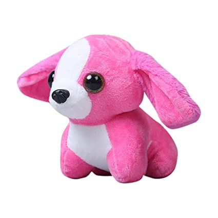 Chocozone 18cm Big Eye Cute Dog Soft Toy for Boys (Pink)