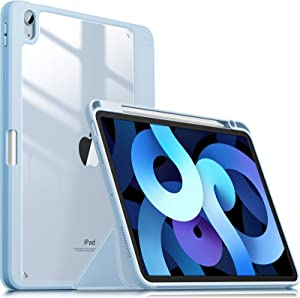 INFILAND Compatible with iPad Air 4 2020 Case with Pencil Holder, Shockproof Case with Clear Transparent Back Fit iPad Air 4 10.9 inch 2020 Release [Support 2nd Gen Pencil Wireless Charging] Baby Blue