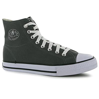 eb54b18b962b Dunlop Mens Canvas High Top Trainers Lace Up Herringbone Cushioned Casual  Shoes Grey 8.5 (42.5
