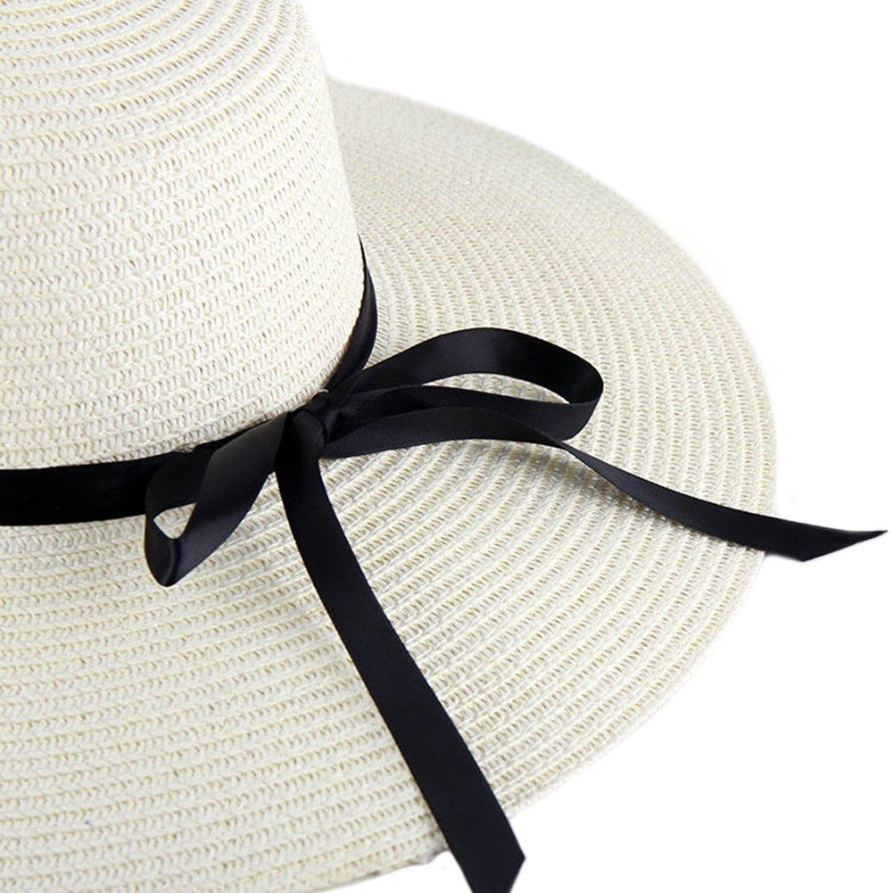 Itopfox Women s Big Brim Sun Hat Floppy Foldable Bowknot Straw Hat Summer  Beach Hat JL045- larger image 8d563e18688d