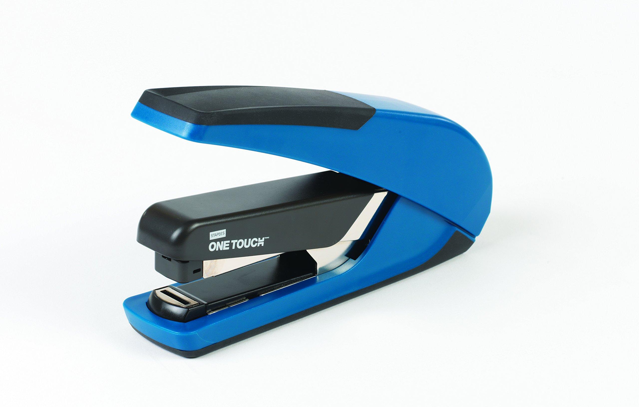 Staples One-Touch Plus Desktop Flat Stack Full Strip Stapler, 30 Sheet Capacity, Blue (25112)