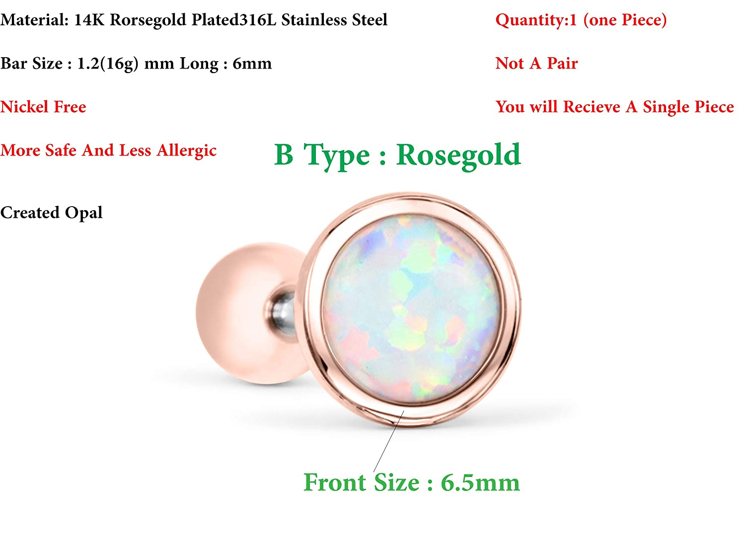 ONDAISY 14k Gold Plated Round Ball Circle Gemstone Created Opal Jewelry Ear Barbell Ball Stud Earring Piercing
