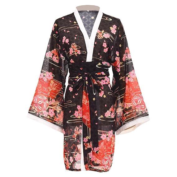 87e4fc304ffe Japonais Femmes Sakura Peignoir de Bain Kimono Yukata Peignoir de Bain avec  Ceinture (Noir,