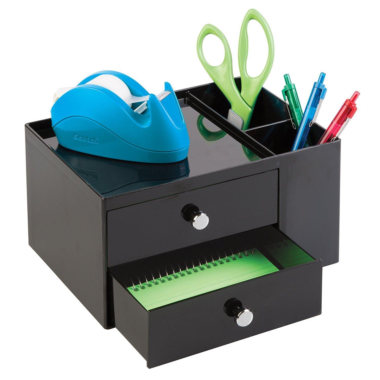 mDesign - Organizador de suministros de oficina / Organizador de escritorio; organiza abrochadoras, tijeras, lapiceras, marcadores, resaltadores, anotadores - 2 cajones - Negro MetroDecor 0469MDO