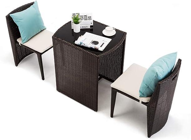 IntimaTe WM Heart Ensemble Salon de Jardin, Lot de 3 pièces, 1 Table et 2  chaises, Meuble de Loisir en Verge de Rotin pour Balcon et café, Meuble en  ...
