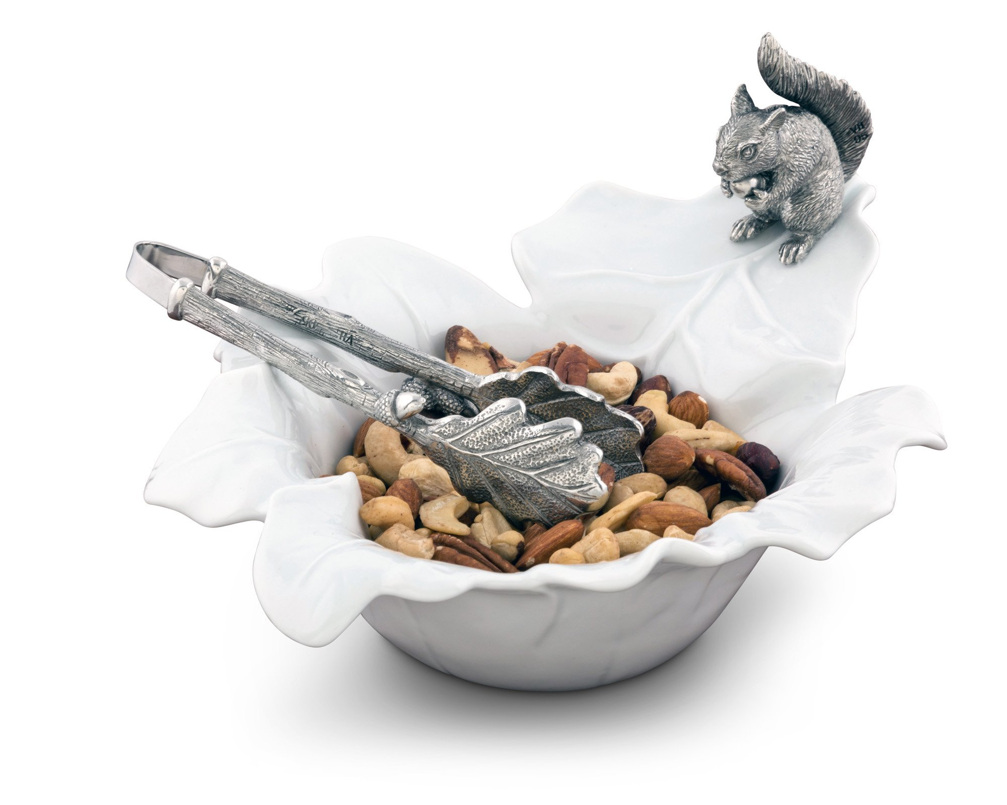 Vagabond House Fine Porcelain Leaf Bowl with Pewter Squirrel 10'' x 8'' 5.5'' Tall