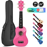 High Gloss Soprano Basswood Ukulele 21inch Starter Kit for Beginner with Gig Bag
