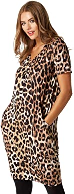 66eb0c57a1978 Roman Originals Women Animal Print Dress Pockets - Ladies Leopard Shift  Slouch Oversize Fit Work Day