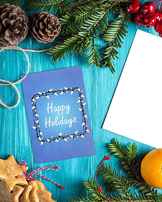 36 Christmas Card Bulk Box Set 6 colorful festive light designs w// Envelopes