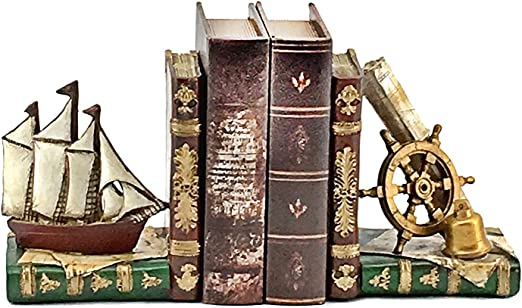 Sailboat Book Stoppers For Shelves Home Decoration Wooden Yacht Bookends Nautical Decoration