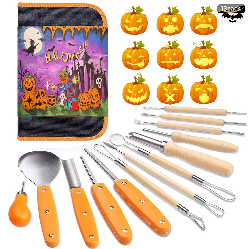 Halloween Pumpkin Carving Tools Kit, 13 Piece Professional Professional Pumpkin Cutting Supplies Tools Kit Stainless Steel Lengthening and Thickening for Halloween Decoration jack-o-lanterns by Feyuan