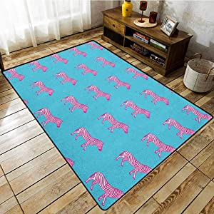 "Skid-Resistant Rug,Pink Zebra,Zebras Savannah Fashion Grunge Stylized Exotic Lands Artsy Illustration,Anti-Slip Doormat Footpad Machine Washable,5'6""x8'6"" Blue Pink and White"