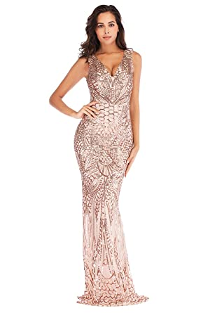 726a66b113bc Women's Sequin Off The Shoulder Fishtail Mermaid Maxi Evening Party Prom  Dress (Gold, ...
