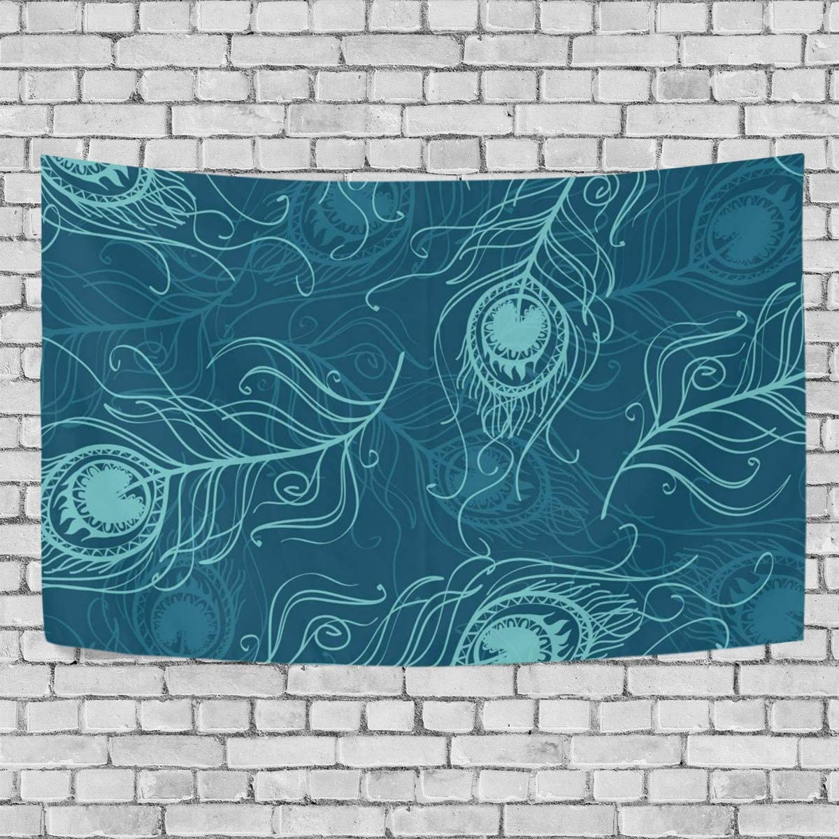 Abstract Art Colorful Peacock Feathers Wall Hanging Tapestry 60x51 IN Home Decor