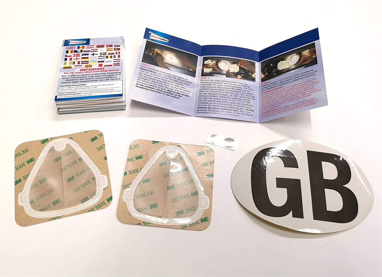 HEADLAMP BEAM REFLECTORS WITH GB EURO STCKER