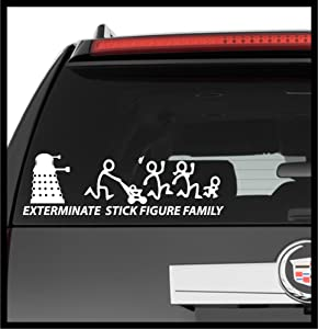 A Design World Decals for Cars Exterminate Stick Figure Family Dr. Who - Vinyl Decal Truck Car Laptop Wall Sticker