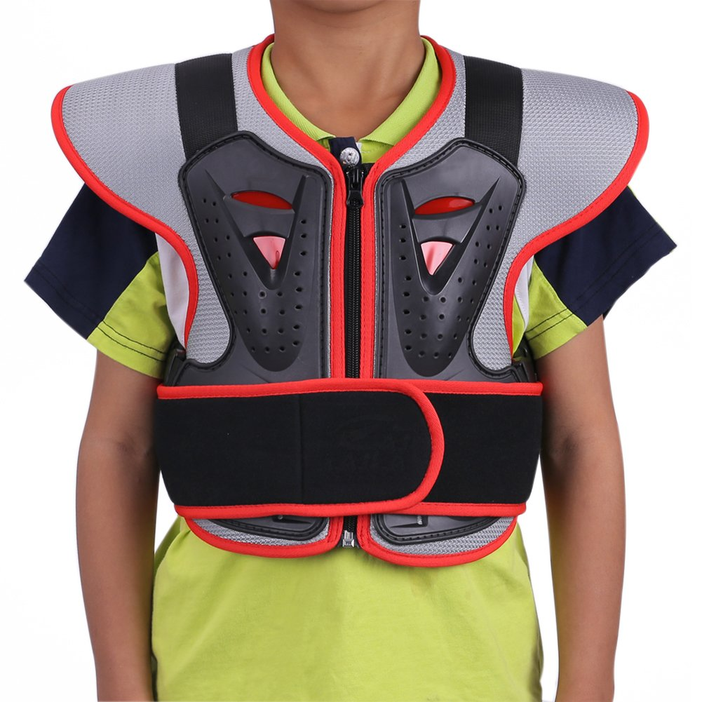 ZZ Lighting Kids Chest Spine Protector Body Armor Vest Protective Gear for Motocross Dirt Bike Skiing Snowboarding, Red S