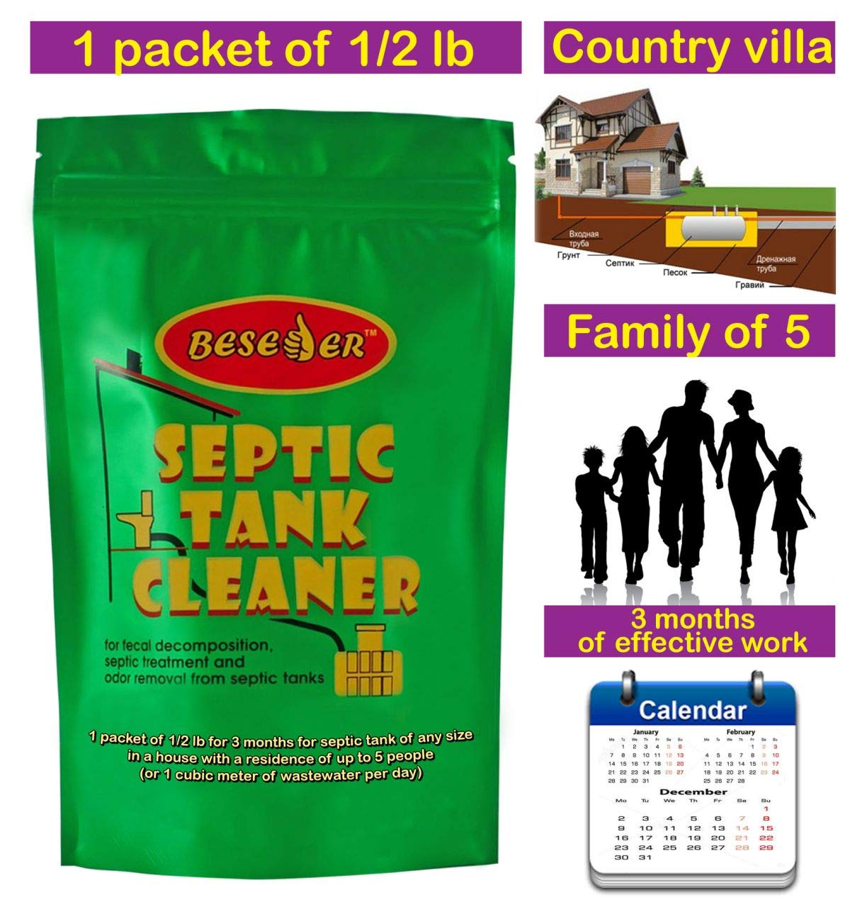 Septic Tank Cleaner for fecal decomposition, septic treatment and odor removal from septic tanks, for septic with size 800-2400 gallons, concentration 2 billion CFU/g … (3 months)