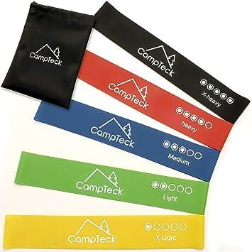 CampTeck Set De 5 Bandas De Resistencia De Látex Cinta Elasticas Vendas De Fitness Para Gimnasia