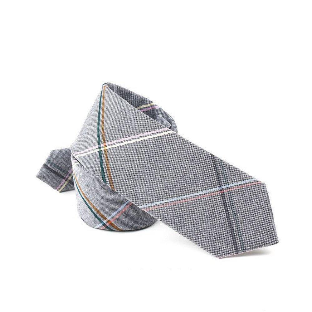 Hello Tie Unisex Cotton Skinny Necktie Plaid Stripes Narrow Tie