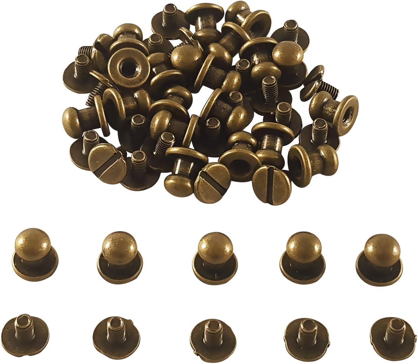 CZ Store- Botón de remache|Juego de 25 Unidades|✮✮Garantía de por vida✮✮-Botón de remache redondo|Tamaño 6X8MM|Botón de bronce para remache de cuero / Cinturón / Zapatos / Pantalones (25)
