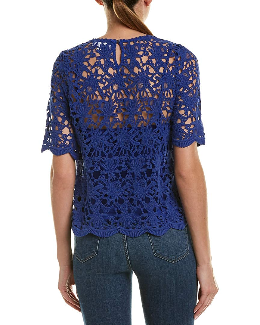 M Velvet by Graham /& Spencer Womens Lace Top Blue