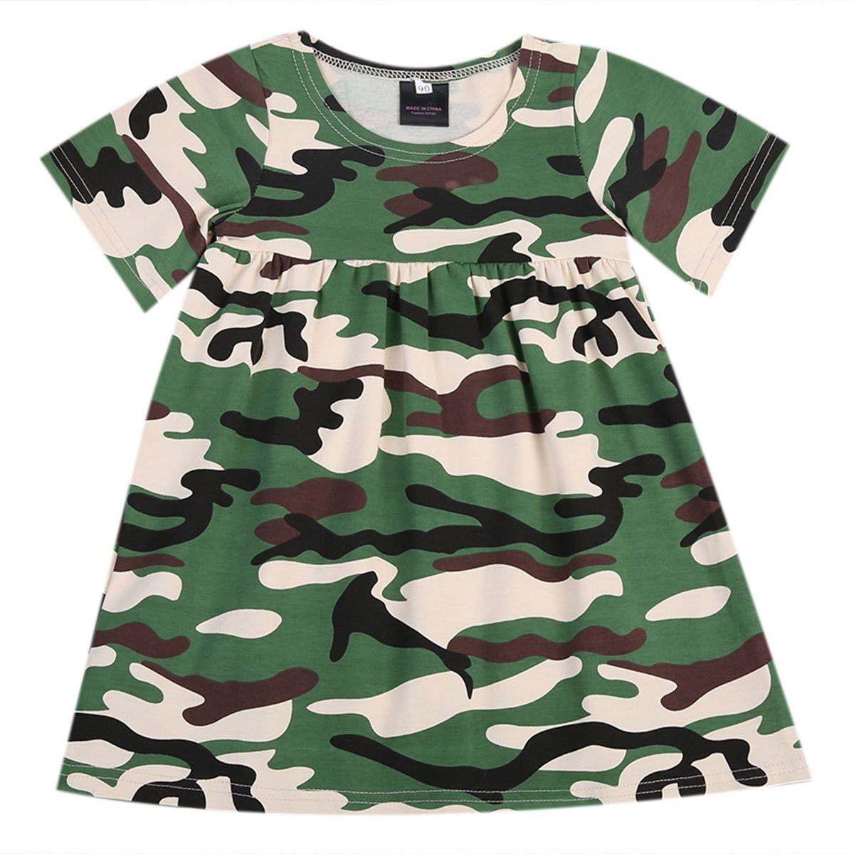 Toddler Baby Girl Kids Summer Camouflage Short Sleeve Casual Cotton Tutu Dress