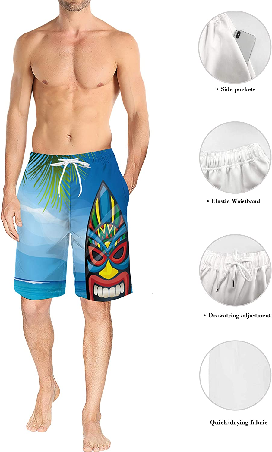 Mens Beach Shorts Warrior Mask Surfboard Summer Casual Quick Dry Short Pants Stretch Swimming Trunks with Pocket