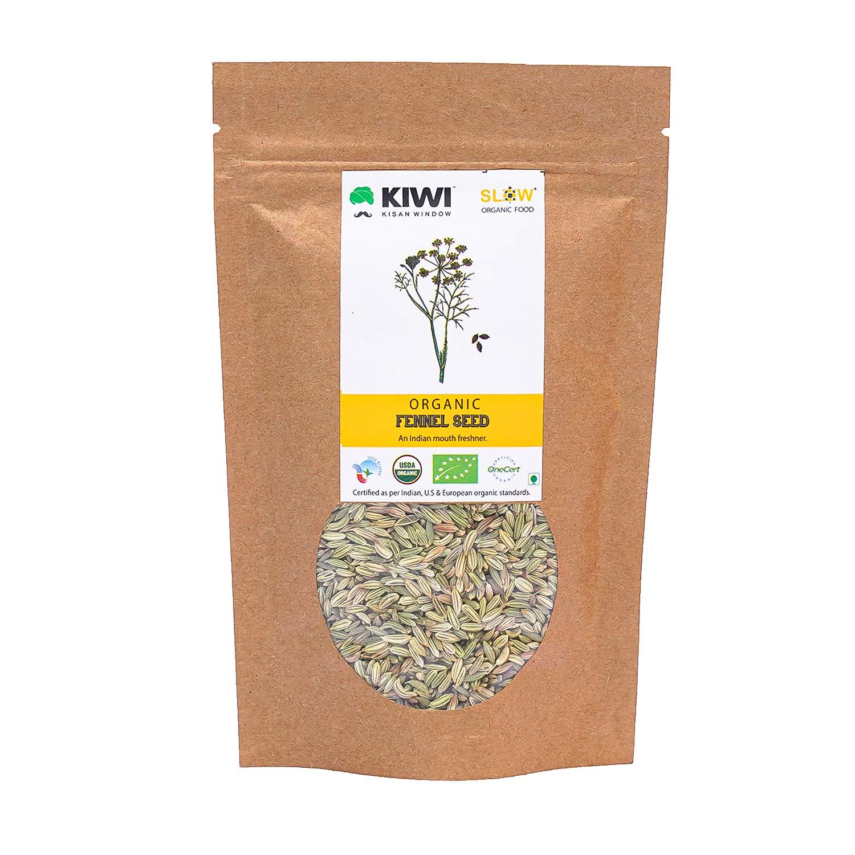 Kiwi Kisan Window Organic Fennel Seeds 100g, 100 g