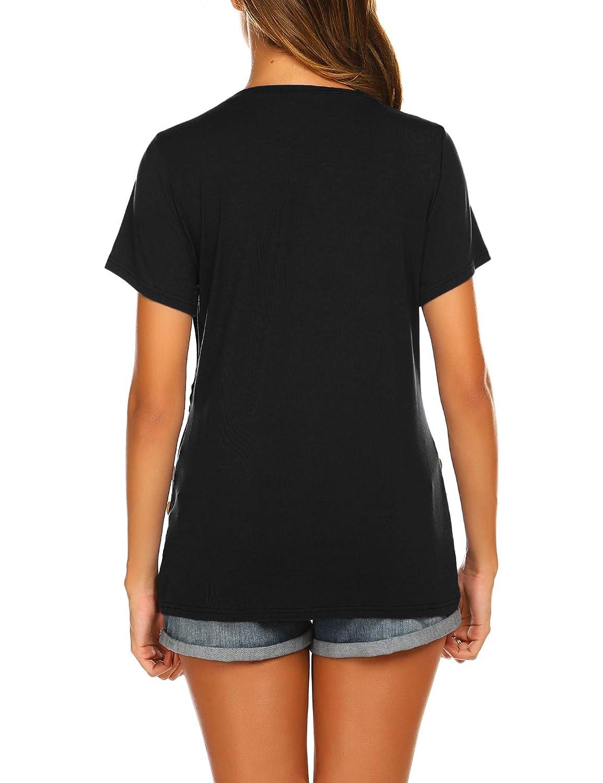 Ekouaer Maternity Top Womens Nursing Shirt Double Layer Short Sleeve Pregnancy Shirt for Breastfeeding S-XXL